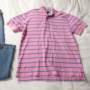 Tommy Hilfiger Striped Polo - Pink & Blue - Small
